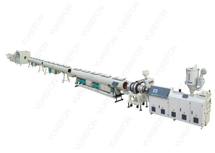 Water / Gas Plastic Pipe Extrusion Line , Bimetalic Screw PE Plastic Pipe Making Machine